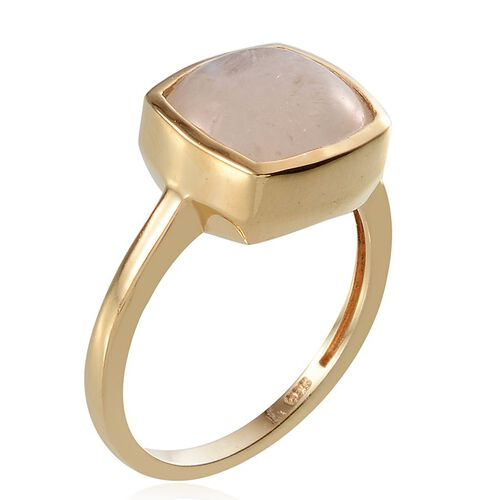 Rainbow Moonstone (Cush 5.25 Ct) Solitaire Ring in 14K Gold Overlay Sterling Silver 5.250 Ct.