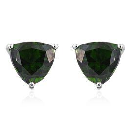 RHAPSODY 950 Platinum 3 Carat AAAA Russian Diopside Trillion Stud Earrings (with Screw Back)