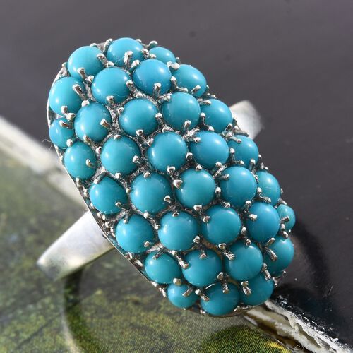 Arizona Sleeping Beauty Turquoise (Rnd) Cluster Ring in Platinum Overlay Sterling Silver 4.500 Ct.