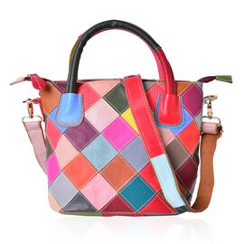 (Option-2) Genuine Leather Art Patchwork Tote with Adjustable and Removable Shoulder Strap (Size 29X23X22X15 Cm)