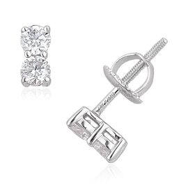 ILIANA 18K White Gold IGI Certified Diamond(Rnd) (SI G-H) Stud Earrings (with Screw Back) 0.500 Ct.