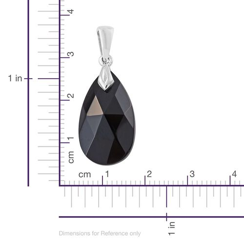 J Francis Crystal from Swarovski - Jet Crystal (Pear) Pendant in Platinum Overlay Sterling Silver