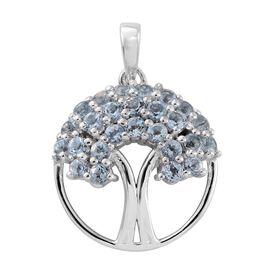Espirito Santo Aquamarine 0.75 Ct Silver Tree of Life Pendant in Platinum Overlay