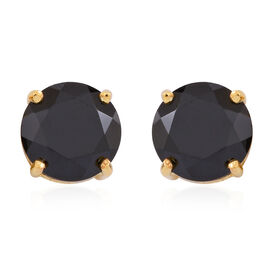 Boi Ploi Black Spinel (Rnd) Stud Earrings (with Push Back) in 14K Gold Overlay Sterling Silver 6.500 Ct.