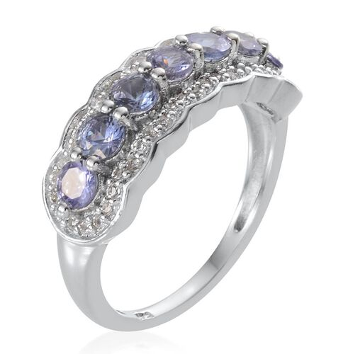 Tanzanite (Rnd), White Topaz Ring in Platinum Overlay Sterling Silver 1.500 Ct.
