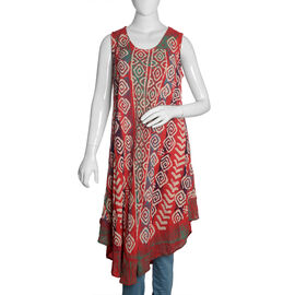 Cherry, Beige and Multi Colour Printed Tunic (Free Size)