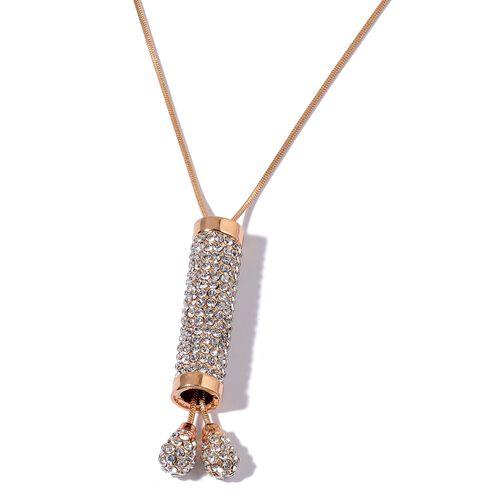 White Austrian Crystal Necklace (Size 35) in Gold Tone