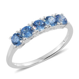 J Francis - Sterling Silver (Rnd) 5 Stone Ring Made with Blue SWAROVSKI ZIRCONIA