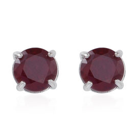 African Ruby (Rnd) Stud Earrings (with Push Back) in Rhodium Plated Sterling Silver 5.500 Ct.