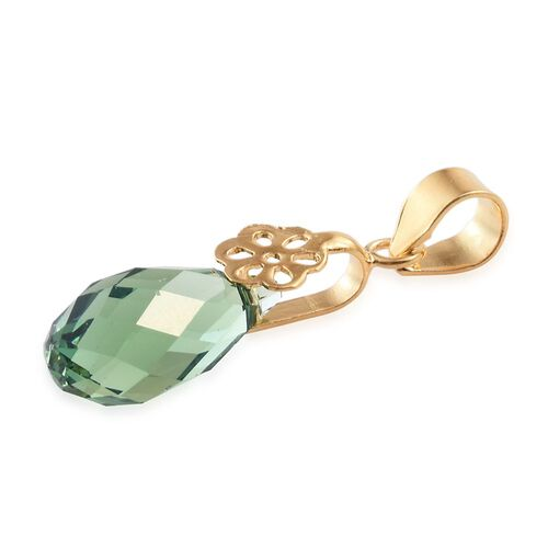 J Francis Crystal from Swaroski - Erinite Crystal Drop Pendant in Yellow Gold Overlay Sterling Silver