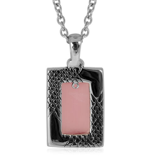 Simulated Pink Cats Eye Pendant With Chain in Stainless Steel 3.000 Ct.