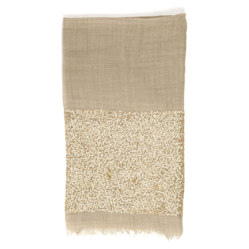 Italian Designer Inspired- Limited Available HAND Stitched Beige Colour Jacquard Sequin Border Shawl (Size 195x70 Cm)