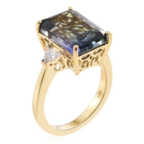 ILIANA 18K Y Gold Peacock Tanzanite (Oct 10.05 Ct), Diamond Ring 10.350 Ct.