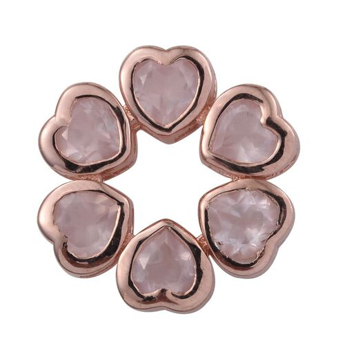 Rose Quartz (Hrt) Pendant in Rose Gold Overlay Sterling Silver 2.500 Ct.