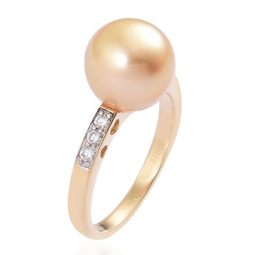 ILIANA 18K Yellow Gold AAA South Sea Golden Pearl (Baroque 10-10.5mm), Diamond (SI/G-H) Ring