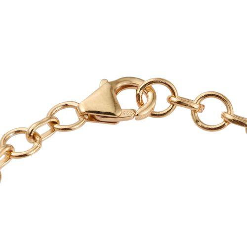 Green Jade (Ovl) Bracelet (Size 7.5) in 14K Gold Overlay Sterling Silver 11.000 Ct.
