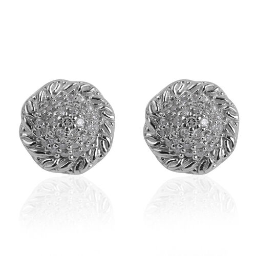 Diamond (Rnd) Stud Earrings (with Push Back) in Platinum Overlay Sterling Silver 0.280 Ct.