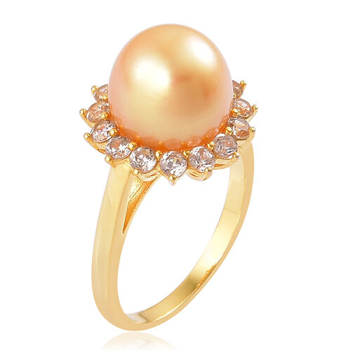 Limited Available- Very Rare South Sea Golden Pearl (Rnd 11.5-12mm), Natural Cambodian Zircon Ring in Yellow Gold Overlay Sterling Silver