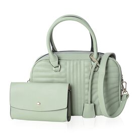 Set of 2 - Light Green Colour Handbag with Removable Shoulder Strap (Size 29x21x12 Cm) and Clutch (Size 18x11.5x4 Cm)