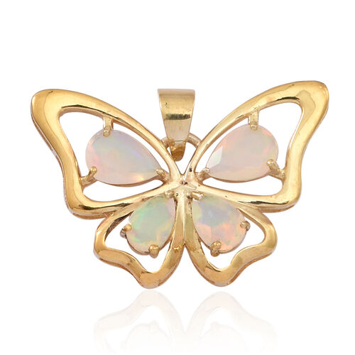 Ethiopian Opal (Pear) Butterfly Pendant in 14K Gold Overlay Sterling Silver 1.500 Ct.