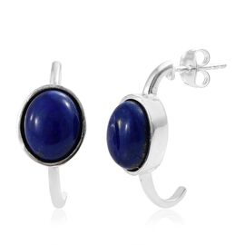 One Time Deal-Lapis Lazuli (Ovl) Half Hoop Earrings (with Push Back) in Sterling Silver 8.000 Ct.