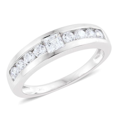 J Francis - 9K White Gold Band Ring Made with SWAROVSKI ZIRCONIA