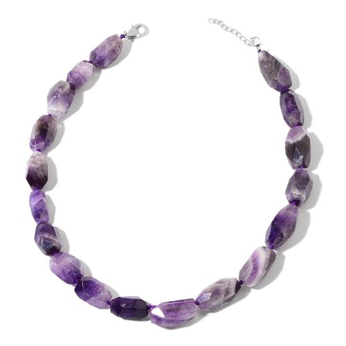 Amethyst Necklace (Size 18 with 2 inch Extender) in Rhodium Plated Sterling Silver 450.000 Ct.