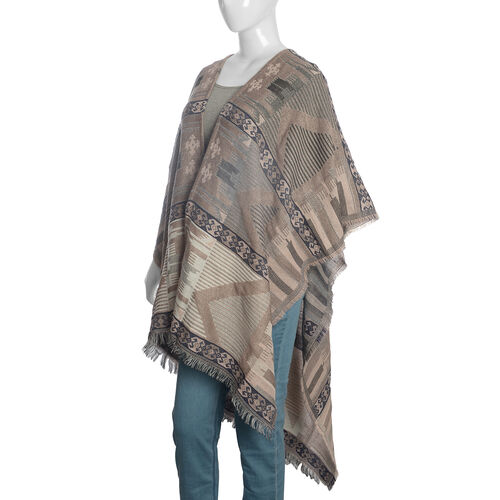 Italian Designer Inspired Cream, Pink and Multi Colour Woven Poncho (Free Size)