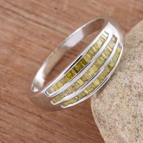 Yellow Diamond (Bgt) Ring in Platinum Overlay Sterling Silver 0.500 Ct.