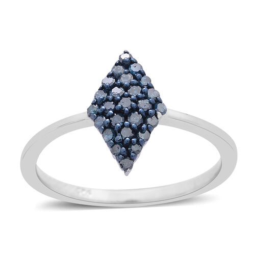 Blue Diamond (Rnd) Ring in Platinum Overlay Sterling Silver 0.250 Ct.