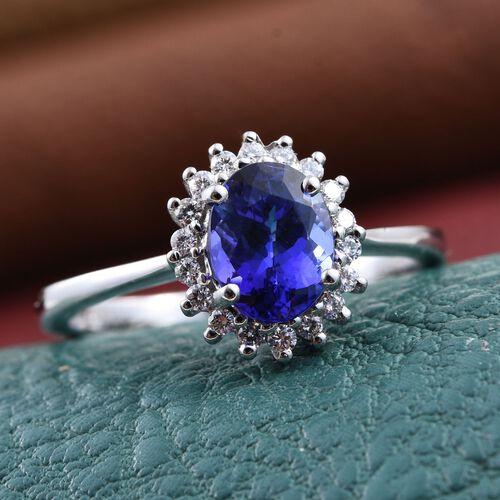 RHAPSODY 950 Platinum AAAA Tanzanite (Ovl 1.60 Ct), Diamond (VS E-F) Halo Ring 1.750 Ct.
