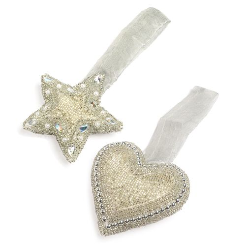 Home Decor - Grey and Silver Colour Beads Embellished Hanging Heart (Size 10x10 Cm) and Star (Size 10x9 Cm)
