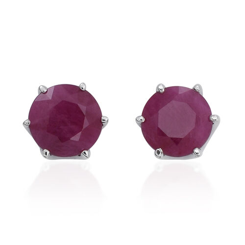 9K W Gold Burmese Ruby (Rnd) Stud Earrings (with Push Back) 2.000 Ct.
