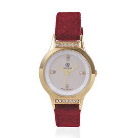 STRADA Japanese Movement White Austrian Crystal Studded Water Resistant Watch in Gold Tone with Wine Red Velvet Strap