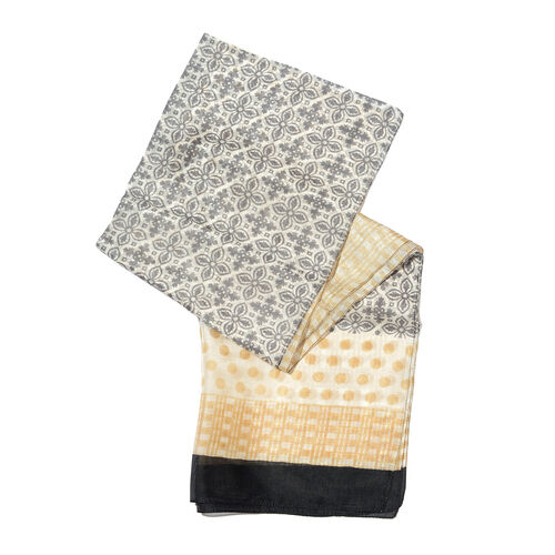 100% Mulberry Silk Beige, Grey and Multi Colour Handscreen Polka Dots Printed Scarf (Size 170X50 Cm)