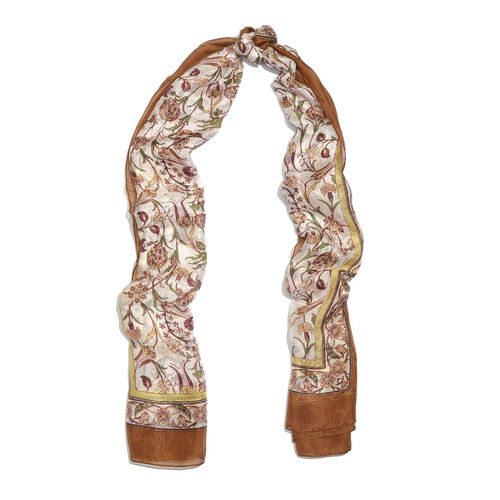 100% Mulberry Silk Grey, White and Multi Colour Handscreen Butterfly Printed Scarf (Size 200X180 Cm)