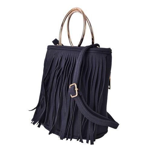 Black Colour Fringes Handbag with Circular Metallic Handles and Adjustable Shoulder Strap (Size 23X18.5X11 Cm)