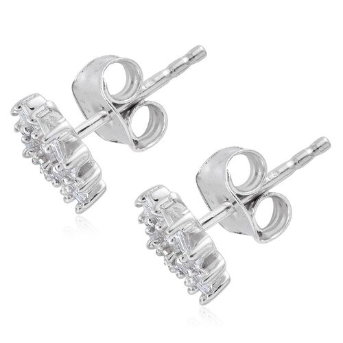 Diamond (Rnd) Floral Stud Earrings (with Push Back) in Platinum Overlay Sterling Silver 0.330 Ct.