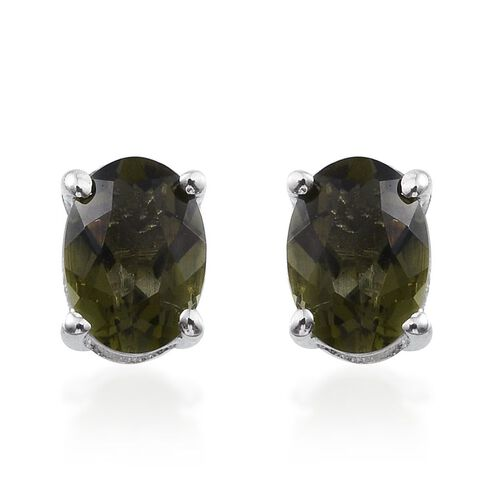 Bohemian Moldavite (Ovl) Stud Earrings (with Push Back) in Platinum Overlay Sterling Silver 1.000 Ct.