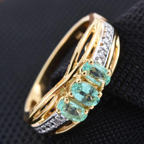 Boyaca Colombian Emerald (Ovl), Diamond Ring in 14K Gold Overlay Sterling Silver 0.750 Ct.