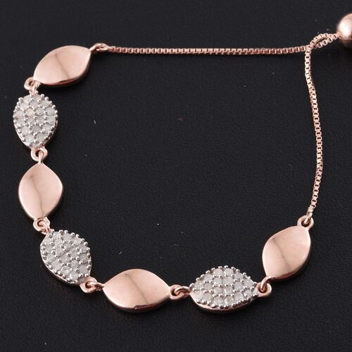 Diamond (Rnd) Bracelet (Size 6.5 to 8.5) in Rose Gold Overlay Sterling Silver 0.450 Ct.