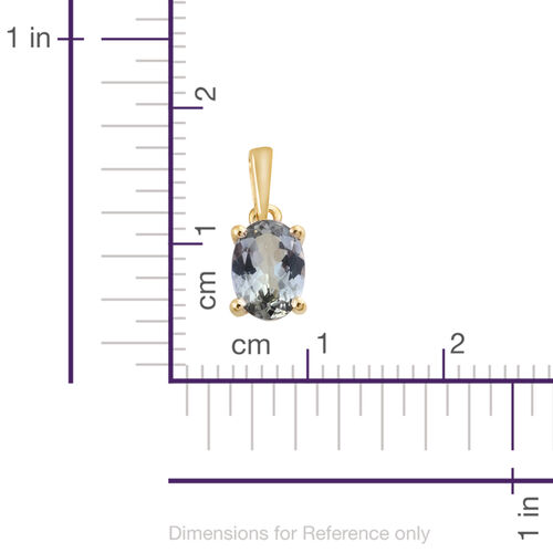 9K Yellow Gold 0.75 Ct AA Green Tanzanite Solitaire Pendant