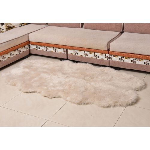 Supersoft Faux Sheep Skin Rug in Cream Colour with Extra-Long Pile (Size 180x100 Cm)
