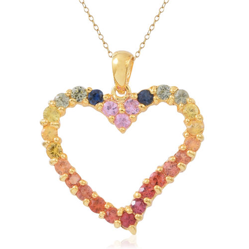Rainbow Sapphire (Rnd) Heart Pendant with Chain in 14K Gold Overlay Sterling Silver 2.250 Ct.
