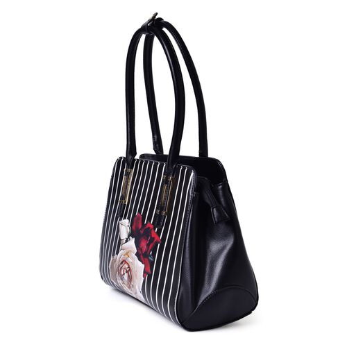 MILANO COLLECTION Fiorela Pattern Classic Tote Bag with External Zipper Pocket (Size 34x24x12 Cm)