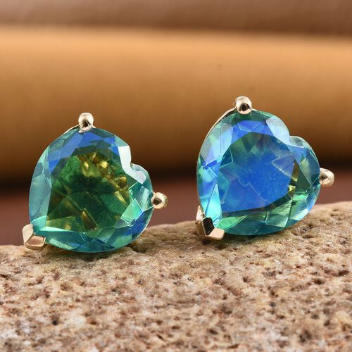 Peacock Quartz (Hrt) Stud Earrings (with Push Back) in 14K Gold Overlay Sterling Silver 7.750 Ct.