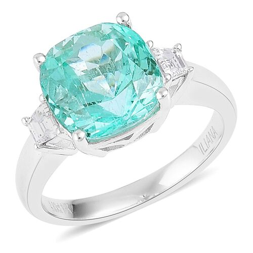 ILIANA 18K W Gold AAA Boyaca Colombian Emerald (Cush 4.75 Ct), Diamond (SI/F-G) Ring 5.150 Ct.