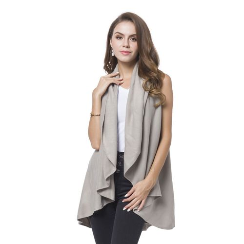 Grey Colour Fold Over Collar Cape (Free Size)
