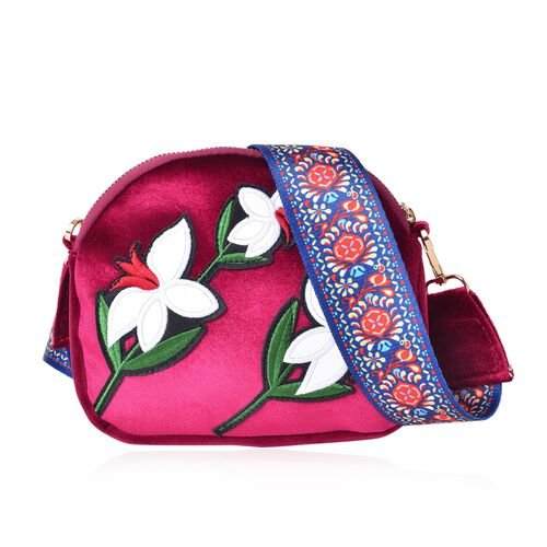 Rose Red, White and Multi Colour Bell Flower Embroidered Velvet Crossbody Bag with Colourful and Removable Shoulder Strap (Size 20X17X3.5 Cm)