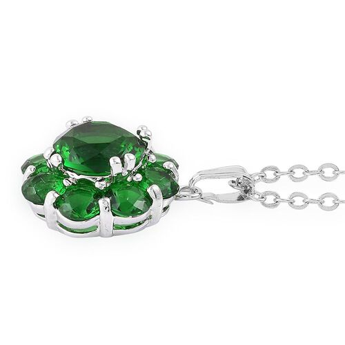 AAA Simulated Emerald Flower Pendant with Chain (Size 22) and Stud Earrings in Silver Tone
